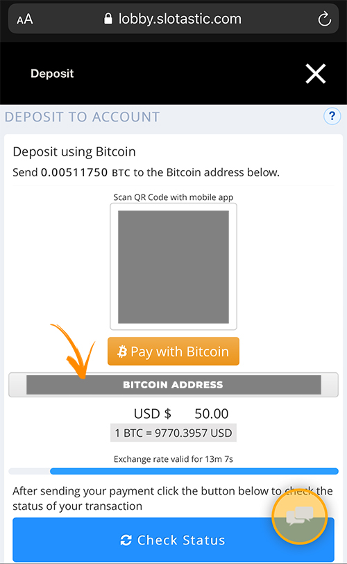 Deposit Bitcoins at Slotastic